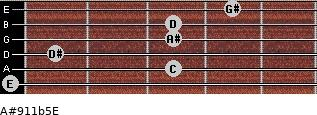 A#9/11b5/E for guitar on frets 0, 3, 1, 3, 3, 4