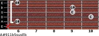 A#9/11b5sus/Eb for guitar on frets x, 6, 10, 9, 9, 6