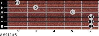 A#9/11#5 for guitar on frets 6, 6, 6, 5, 3, 2