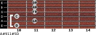 A#9/11#5/D for guitar on frets 10, 11, 10, 11, 11, 11
