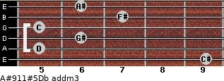 A#9/11#5/Db add(m3) for guitar on frets 9, 5, 6, 5, 7, 6