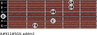 A#9/11#5/Gb add(m2) guitar chord