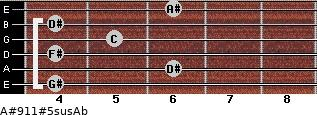 A#9/11#5sus/Ab for guitar on frets 4, 6, 4, 5, 4, 6