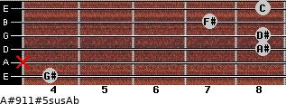 A#9/11#5sus/Ab for guitar on frets 4, x, 8, 8, 7, 8
