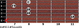 A#9/11#5sus/Ab for guitar on frets x, 11, 8, 8, 7, 8