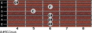 A#9/11sus for guitar on frets 6, 6, 6, 5, 6, 4