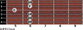 A#9/11sus for guitar on frets 6, 6, 6, 5, 6, 6