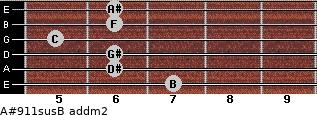 A#9/11sus/B add(m2) guitar chord