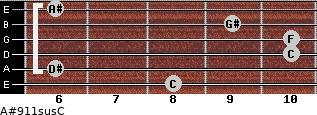 A#9/11sus/C for guitar on frets 8, 6, 10, 10, 9, 6