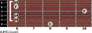 A#9/11sus/C for guitar on frets 8, 6, 6, 10, 6, 6