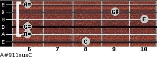 A#9/11sus/C for guitar on frets 8, 6, 6, 10, 9, 6