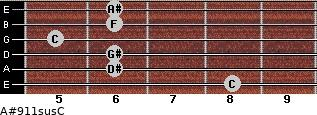A#9/11sus/C for guitar on frets 8, 6, 6, 5, 6, 6