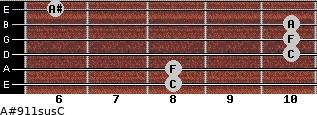 A#9\11sus\C for guitar on frets 8, 8, 10, 10, 10, 6