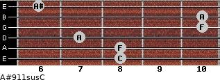 A#9\11sus\C for guitar on frets 8, 8, 7, 10, 10, 6
