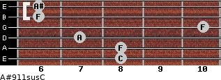 A#9\11sus\C for guitar on frets 8, 8, 7, 10, 6, 6