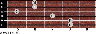 A#9\11sus\C for guitar on frets 8, 8, 7, 5, 6, 6