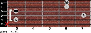 A#9\11sus\C for guitar on frets x, 3, 7, 3, 6, 6
