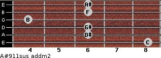 A#9/11sus add(m2) for guitar on frets 8, 6, 6, 4, 6, 6