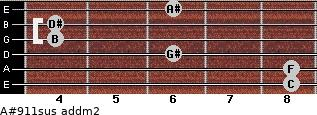 A#9/11sus add(m2) for guitar on frets 8, 8, 6, 4, 4, 6