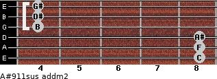 A#9/11sus add(m2) for guitar on frets 8, 8, 8, 4, 4, 4