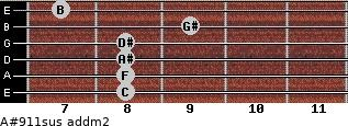A#9/11sus add(m2) guitar chord