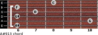 A#9/13 for guitar on frets 6, 10, 6, 7, 6, 8