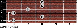 A#9/13 for guitar on frets 6, 8, 6, 7, 8, 8