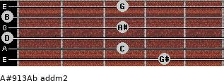 A#9/13/Ab add(m2) for guitar on frets 4, 3, 0, 3, 0, 3