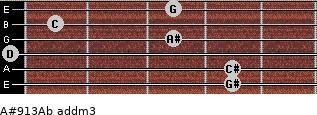 A#9/13/Ab add(m3) for guitar on frets 4, 4, 0, 3, 1, 3