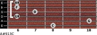 A#9/13/C for guitar on frets 8, 10, 6, 7, 6, 6