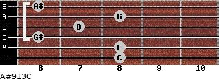 A#9/13/C for guitar on frets 8, 8, 6, 7, 8, 6