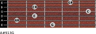 A#º9/13/G for guitar on frets 3, 1, 2, 5, 2, 4
