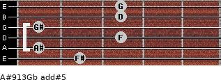 A#9/13/Gb add(#5) guitar chord