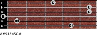 A#9/13b5/G# for guitar on frets 4, 1, 0, 5, 5, 3