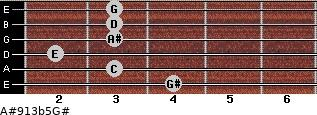 A#9/13b5/G# for guitar on frets 4, 3, 2, 3, 3, 3
