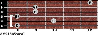 A#9/13b5sus/C for guitar on frets 8, 10, 8, 9, 9, 12