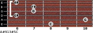 A#9/13#5/C for guitar on frets 8, 10, 6, 7, 7, 6