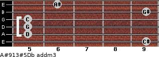 A#9/13#5/Db add(m3) guitar chord