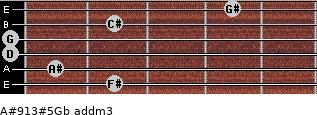 A#9/13#5/Gb add(m3) guitar chord