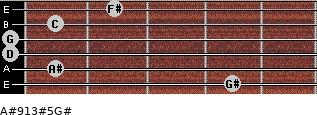 A#9/13#5/G# for guitar on frets 4, 1, 0, 0, 1, 2