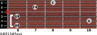 A#9/13#5sus for guitar on frets 6, 10, 6, x, 7, 8