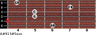 A#9/13#5sus for guitar on frets 6, x, 5, 5, 7, 4