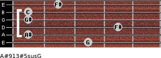 A#9/13#5sus/G for guitar on frets 3, 1, 4, 1, 1, 2