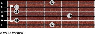 A#9/13#5sus/G for guitar on frets 3, 1, 4, 1, 1, 3
