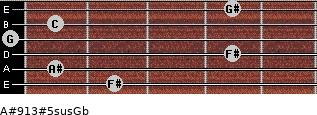 A#9/13#5sus/Gb for guitar on frets 2, 1, 4, 0, 1, 4