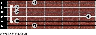 A#9/13#5sus/Gb for guitar on frets 2, 1, 5, 1, 1, 2