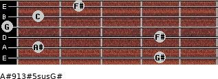 A#9/13#5sus/G# for guitar on frets 4, 1, 4, 0, 1, 2