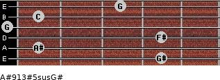 A#9/13#5sus/G# for guitar on frets 4, 1, 4, 0, 1, 3