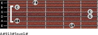 A#9/13#5sus/G# for guitar on frets 4, 1, 5, 5, 1, 2