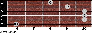A#9/13sus for guitar on frets 6, 10, 10, 10, 9, 8
